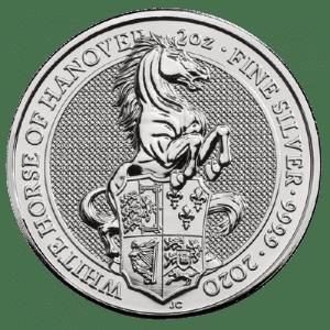 Srebrna moneta Bestie Królowej Biały Koń Hanoweru 2 oz rewers