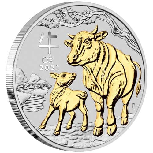 Pozłacana srebrna moneta Lunar III, Rok Bawołu 1 oz rewers