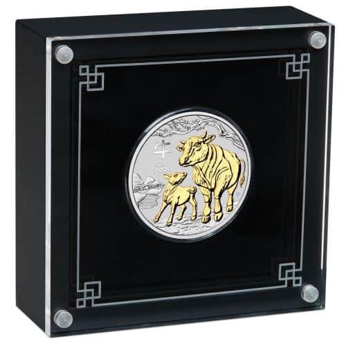 Pozłacana srebrna moneta Lunar III Rok Bawołu w etui 1 oz