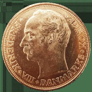 Złota moneta 20 Koron Duńskich awers