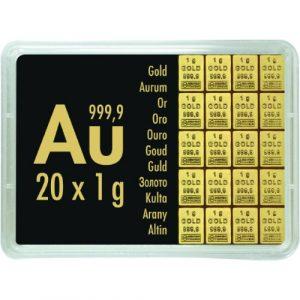 Złota sztabka dzielona 20 x 1 gram LBMA