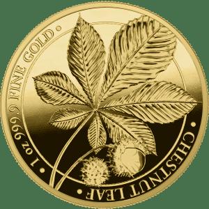 Złota moneta PROOF Liść Kasztanowca 1oz rewers