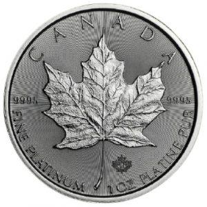 Platynowa moneta Liść Klonowy 2021 1 oz awers