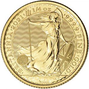 Złota moneta Britannia 1/4 oz rewers