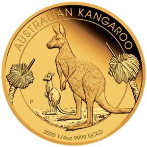 Złota moneta Australijski Kangur 1/4 oz rewers