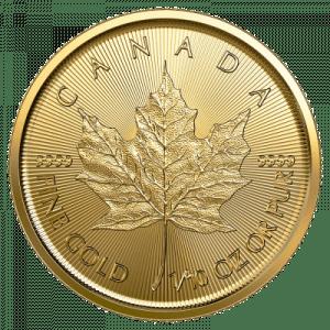 Złota moneta Liść Klonowy 1/10 oz 2021 rewers