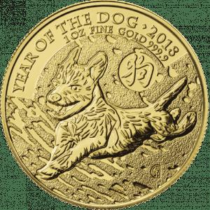 Złota moneta Lunar UK Rok Psa 1 oz 2018 rewers