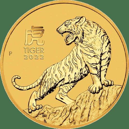Złota moneta Lunar III Rok Tygrysa 1/10 oz 2022 rewers