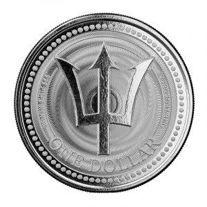 Srebrna moneta Trójząb z Barbadosu 1 oz 2021 rewers