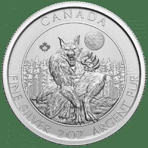 Srebrna moneta Creatures Of The North Series Wilkołak 2 oz 2021 rewers