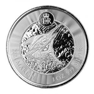 Srebrna moneta Cayman Islands Marlin 1oz 2021 rewers