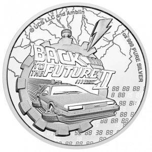 Srebrna moneta Powrót do Przyszłości II 1 oz 2021 rewers