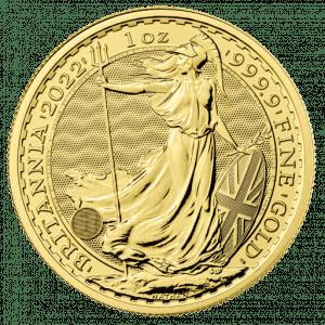 Złota moneta Britannia 1 oz 2022 rewers