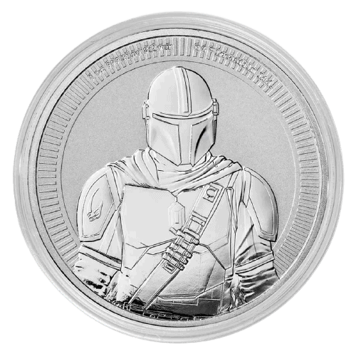 Srebrna moneta Gwiezdne Wojny Mandalorian 1 oz 2021 rewers